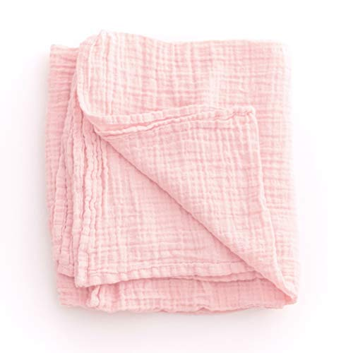 Sugar House Shop Premium 100% Imported Cotton, Muslin Fabric Swaddle Blanket, Many Colors, for Infants and Toddlers, 47in x 47in, 8oz, Shell Pink