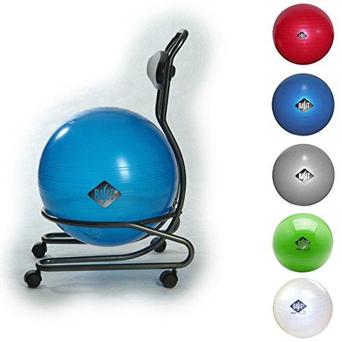 BASIT® Comfort Gesundheitsstuhl Bürostuhl + Gymnastikball Sitzballstuhl Ballstuhl für Erwachsene, mit Rollen, Farbe:grau/silber