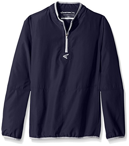 Youth Warm Up Jacket (Easton Boys M5 Youth Long Sleeve Cage Jacket, Navy/Silver, X-Large)