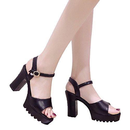 - Xturfuo Women's Low Heel Pump Sandals Single Band Classic Chunky Block High Heel Sandals
