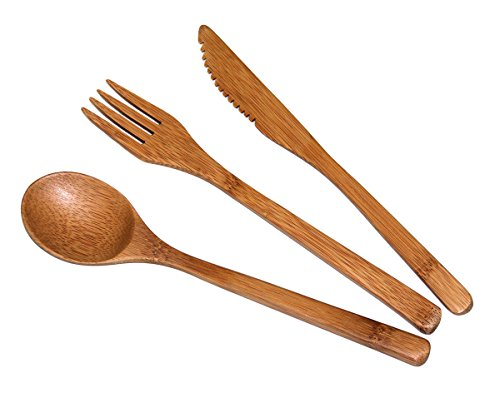 Totally Bamboo Flatware Set, 100% Bamboo, Organically Grown Reusable Cutlery Fork, Knife and Spoon, 3-Piece Set –  Craftsmanship Guaranteed & THE Family Friendly Alternative! (Sets Glass Dinnerware Clear)