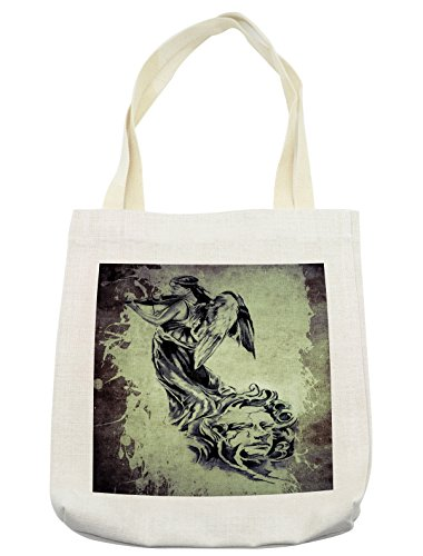 Lunarable Tattoo Tote Bag, Retro Angel Playing the Violins over Vintage Paper Sculpture Style Silhouette of Man, Cloth Linen Reusable Bag for Shopping Groceries Books Beach Travel & More, Cream