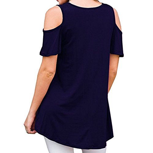 fredda a spalla Camicia Ai moichien rotondo shirt colore scuro collo donna Soild casual blu per T nIxTXffq