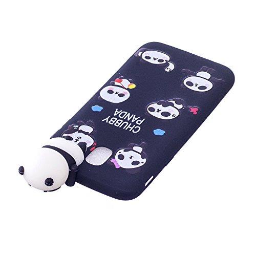 Funda Samsung J7 2017, Carcasas Galaxy J7 2017 3D Panda Lindo, MoEvn Gel TPU Silicona Flexible Protectora Caso Ultra Delgado Suave Goma Mate Case Cover Anti Rasguños Anti Choque Bumper Cubierta Caja p Negro 2