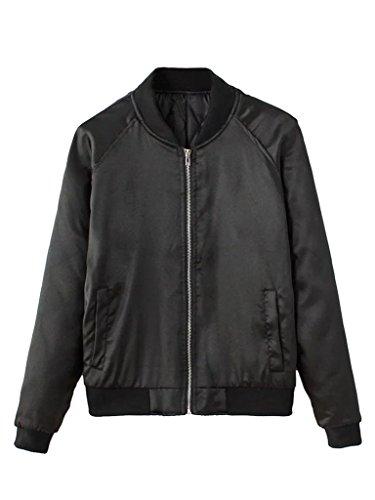(CHARLES RICHARDS Women's Bomber Jacket Zip Up Stain Look Baseball Collar Classic Short Jacket Baseball Jacket Coat Black)