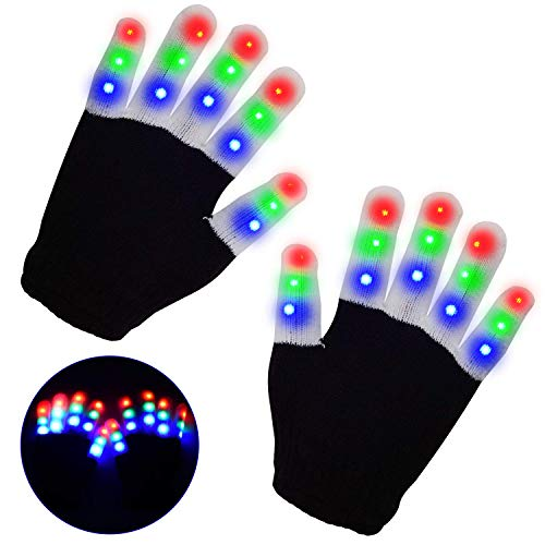 LED Gloves Yostyle Flashing Light up Gloving Colorful Fingers Gloves Sets Glow battery powered Best Gifts for Novelty Game Light Show Halloween Costume Rave Concert Birthday Party Favors,Gifts (Children Black -6 Modes 3 Colors 15Hrs )
