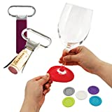 Wine Coasters Glass Silicone Charms + Premium Two Prong Wine Opener - Set of 7
