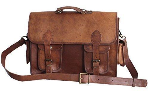 16'' Distressed Leather Messenger/ Laptop Bag for Men/women