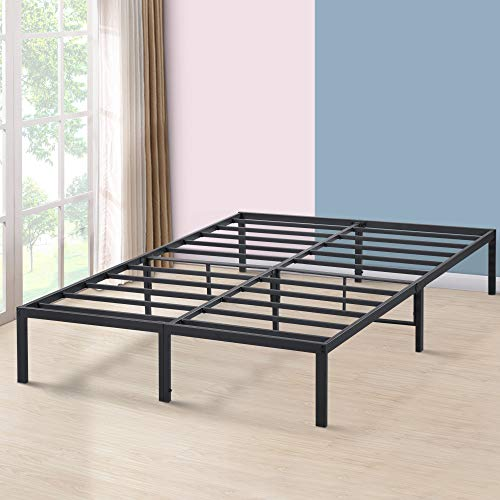 PrimaSleep 14 Inch Tall Simple Sturdy Steel Slat Metal Bed Frame Non Slip Ample Storage Space,Queen