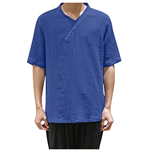 Godathe Summer Men's Shirt Coo Thin Breathable Collar Hanging Dyed Gradient Cotton Top Blouse (XXXL, Blue)