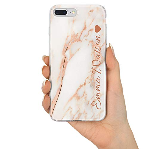 TULLUN Custom Rose Gold Marble Personalized Name Initials Monogram Text Flexible Soft Gel Phone Case Cover for iPhone Models - Name & Heart - for iPhone 7 Plus / 8 Plus