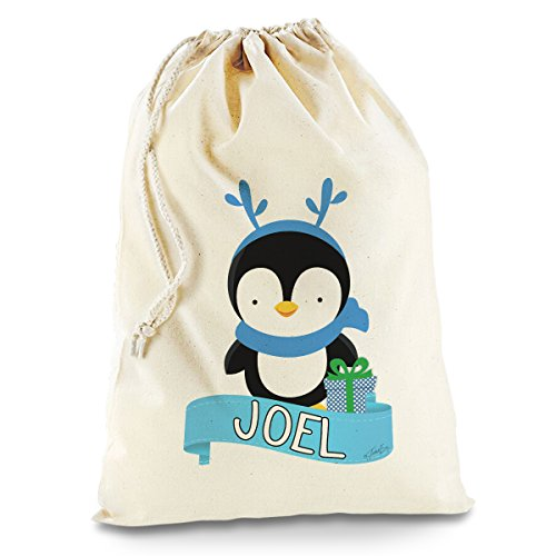 Personalised Santa Sacks (Blue Boy Penguin)