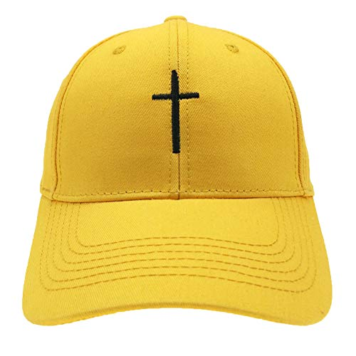 (Cross Embroidered Dad Hats Adjustable Structured Cotton Baseball Caps Adult Hats for Men Women (Style 2 Yellow))