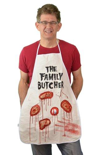 Zagone Family Butcher Apron, White, Bloody latex body parts -