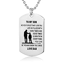 Father Son Necklace-Never Forget I Love You-Personalized Custom Military Dog Tag Pendant Dad to Son Gift