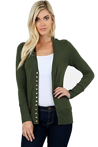 ClothingAve. Women's Snap Button Sweater Cardigan with Ribbed Detail-Army (Ribbed Detail Cardigan)