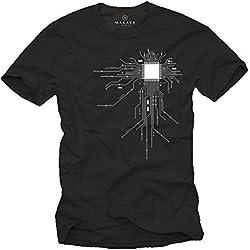 Makaya Men's Geek T-Shirt Gamer CPU Print Black Size M