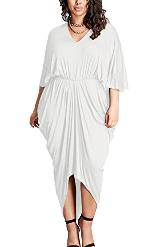 PinkQueen Women's V Neck Batwing Sleeve Casual Plus Size Ruched Dress White XXXL]()