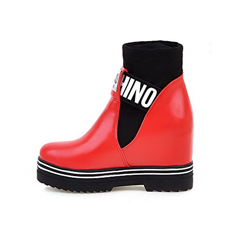 Allhqfashion Women's Blend Materials Low-top Assorted Color Pull-on High-Heels Boots Red apsnB