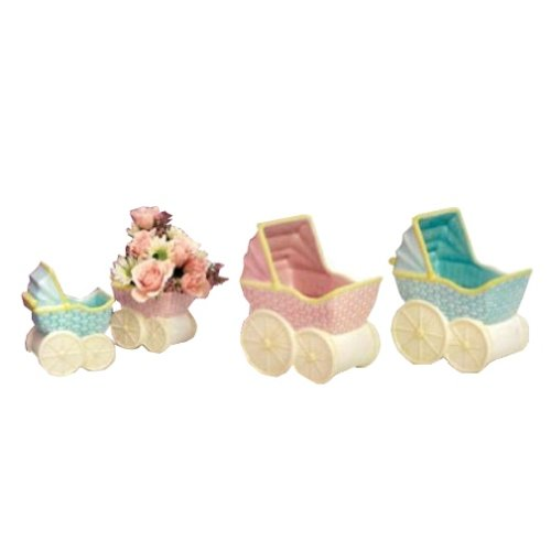 Napco Small Accents and Occasions Ceramic Baby Buggy Figurine - Ceramic Baby Buggy
