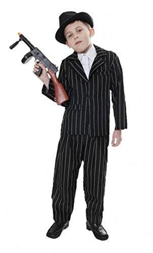 [1920s Black Pinstripe Gangster Child Costume Mafia Boys Book Week Fancy Dress (7-9 years) by Best] (20s Mafia Costume)