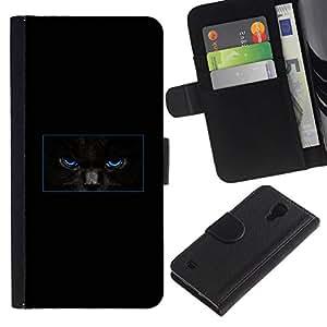 All Phone Most Case / Oferta Especial Cáscara Funda de cuero Monedero Cubierta de proteccion Caso / Wallet Case for Samsung Galaxy S4 IV I9500 // Minimalist Black Cat Mysterious