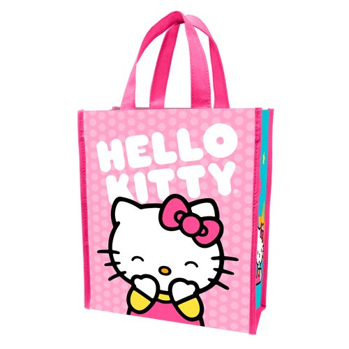 - Vandor 18573 Hello Kitty Pink Dots Small Recycled Shopper Tote, Multicolor
