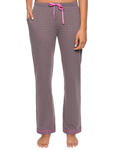 Cotton Dot Pink Jersey (Noble Mount Women's Double Layer Jersey Lounge Pants, Polka Dots Charcoal/Pink, Small)