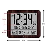 "Marathon Slim Atomic Full Calendar Clock with Large 3.25"" Digits, Indoor Temperature and Humidity - Batteries Included - CL030067WD"