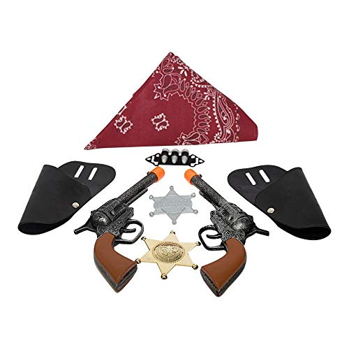 "Imprints Plus BG Dress Up Cowboy Costume Accessories for Kids 11-Piece Set Includes 2 Click-Action Toy Guns 7"" with Belt Holsters Bandanna Pair of Badges , 3 Bullets and a Faux Million Dollar Bill"