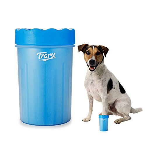 Paw Scrub - Trary Portable Dog Paw Cleaner - Pet Cleaning Brush Cup with Soft Silicone Brush - Pet Feet Washer for Dirty and Muddy Paws, Medium