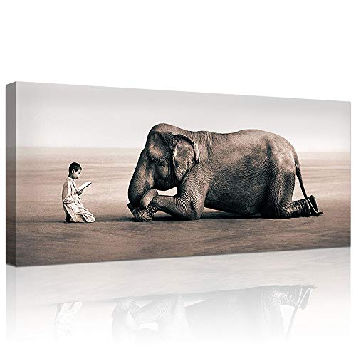 DekHome Grey and White Animals Canvas Prints Elephant Meditation at Front of Monk Wall Art Painting Modern Artwork Stretched and Framed Ready to Hang Salon Zen Yoga Home Room Decoration 20