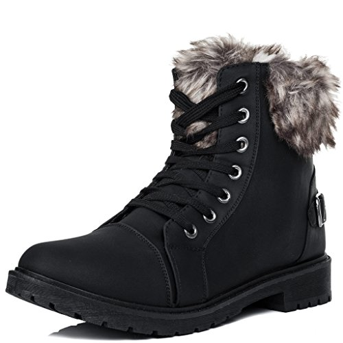 Lace Fur SPYLOVEBUY Up Leather Style Ankle Boots Black FUFFA Style Shoes Women's Flat rxOIqErUw