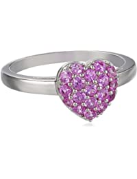 Sterling Silver and Created Pink Sapphire Cluster Heart Ring