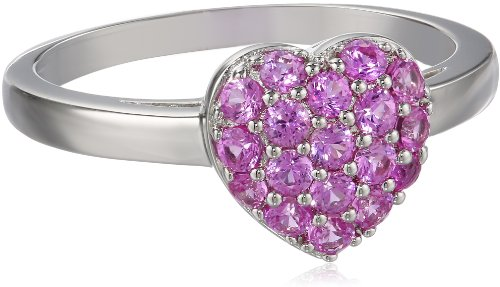 Pink Sapphire Set (Sterling Silver Created Pink Sapphire Cluster Heart Ring, Size 8)