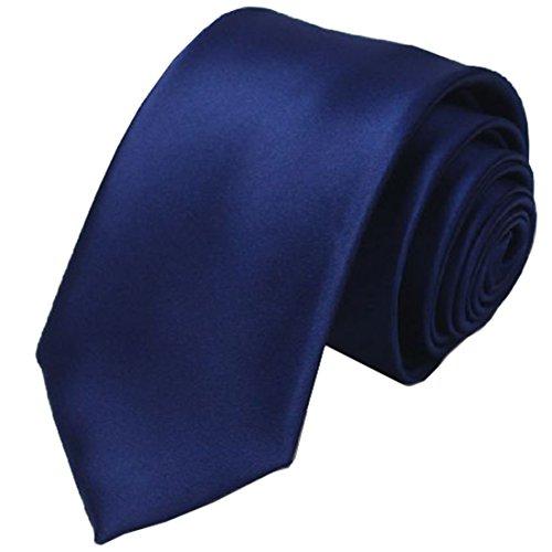 Navy Satin Tie KissTies Blue Ties Mens Necktie + Gift Box (Necktie Suit)
