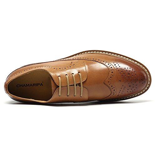 CHAMARIPA Vestir DX60B06 Hombre cm más Alto Brogues Zapatos 7 de Cuero para de pUW7pcRrO