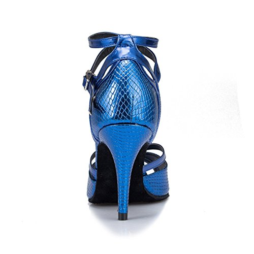 Our43 Chaussures De De Latine Ankle Ballroom Salsa Danse Womens EU42 Strappy Mode DQuietness Heel Blue Buckle Tango Danse 5 Femmes Leather Chunky Cow Suede Sandals UK7 xpqO4R6