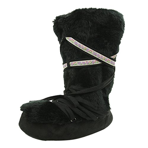 Warm Winter Slipper Indoor Fur Women's Slippers Faux Black Boot Shoes House Home RtEqwq