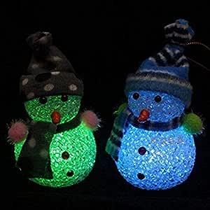 2 لون متغير LED رجل الثلج عيد الميلاد الديكور مصباح ليلي ضوء شجرة عيد الميلاد شنقا حلية
