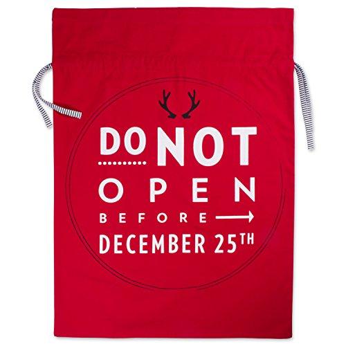 DII Cotton Santa Claus Christmas Gift Sack Bag, 39x29