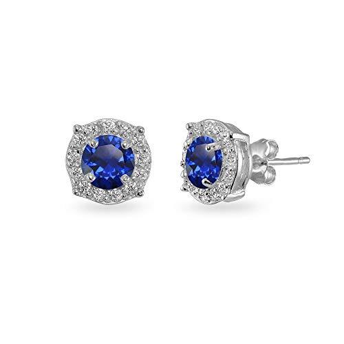 Sterling Silver Created Blue Sapphire & White Topaz 5mm Round Halo Stud Earrings for Women Girls