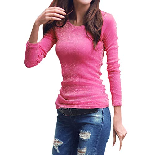 (Fshinging Women Long Sleeve Blouse Round Neck Stretch Tops Slim Fit Solid Color Bottoming Top {Hot Pink,XXL})