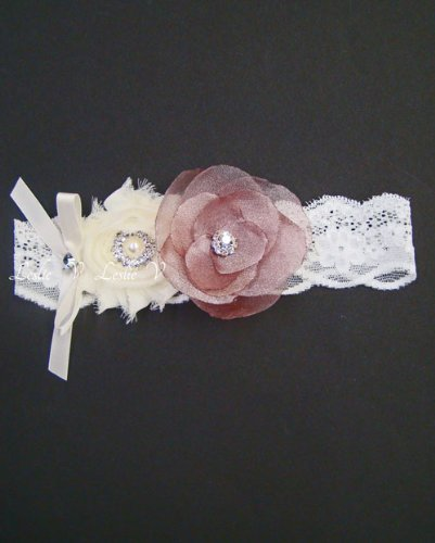 Ella: Garter with Ivory and Shimmery Mauve Flowers 201-F19a