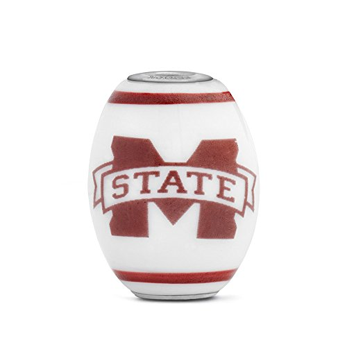 Sterling Silver Msu Bulldogs Charm (Mississippi State University Bulldogs Large Glass Bead Fits Most European Style Charm Bracelets)