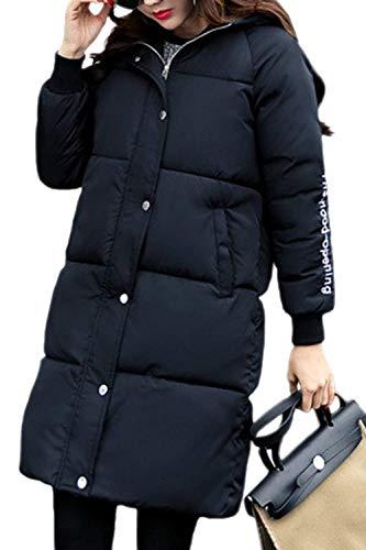 Calda Invernale Vintage Fashion Outdoor Piumino Incappucciato Eleganti Donna Cappotto Trapuntato Casuali Lunga Piumini Nero Manica Invernali Parka Addensare RPw4Xq