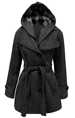 Ceinture Manteau Pour Veste À Tailles Avec Femme Capuche Charbon Top Femmes Polaire 7YxSqtYR