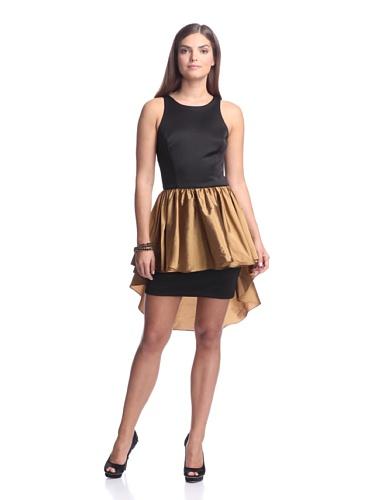 (Alexia Admor Women's Ponte Dress with Taffeta Skirt, Black/ Amber, L)