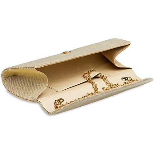 forme avec Gold longue soirée paillettes de CASPAR TA394 Clutch avec Pochette brillante baguette chaînette OxqX1v