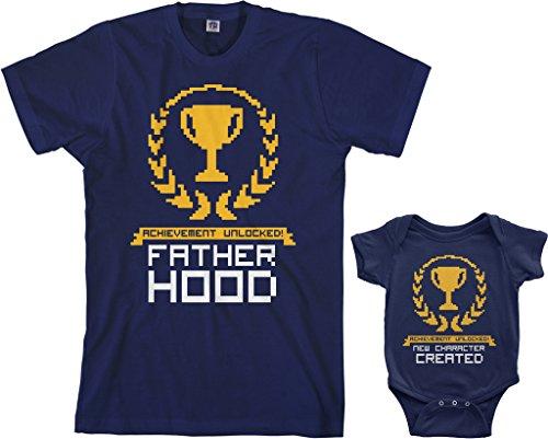 Threadrock Achievement Unlocked Infant Bodysuit & Men's T-Shirt Matching Set (Baby: 12M, Navy|Men's: M, Navy)